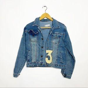 VINTAGE Denim Jean Jacket Embroidered Light Wash